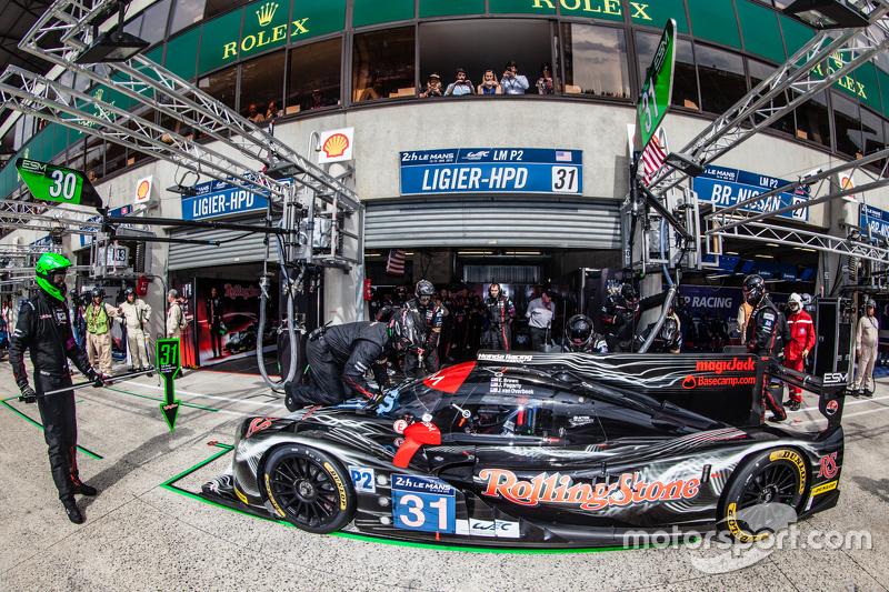Pit stop for #31 Extreme Speed Motorsports Ligier JS P2: Ed Brown, Jon Fogarty, Johannes van Overbeek