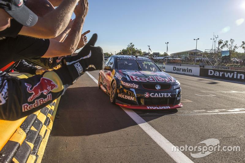 Race winner Craig Lowndes, Triple Eight Race Engineering Holden celebrates his 100th win