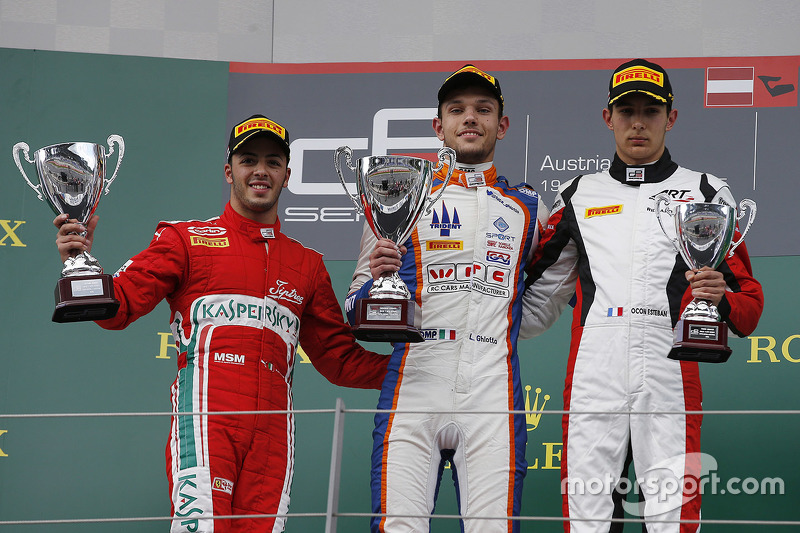 Podium: Race winner Luca Ghiotto, Trident celebrates his win on the podium with second place Antonio