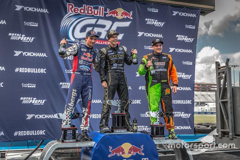 Podium: winner Tanner Foust, second place Steve Arpin, third place Sebastian Eriksson