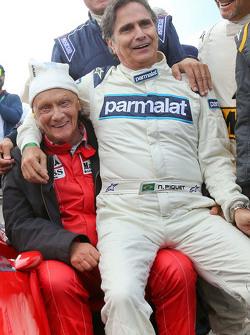 Niki Lauda, Mercedes Non-Executive Chairman and Nelson Piquet, at the Legends Parade