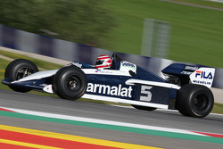 Nelson Piquet, in de Brabham BT52 op de Legends Parade