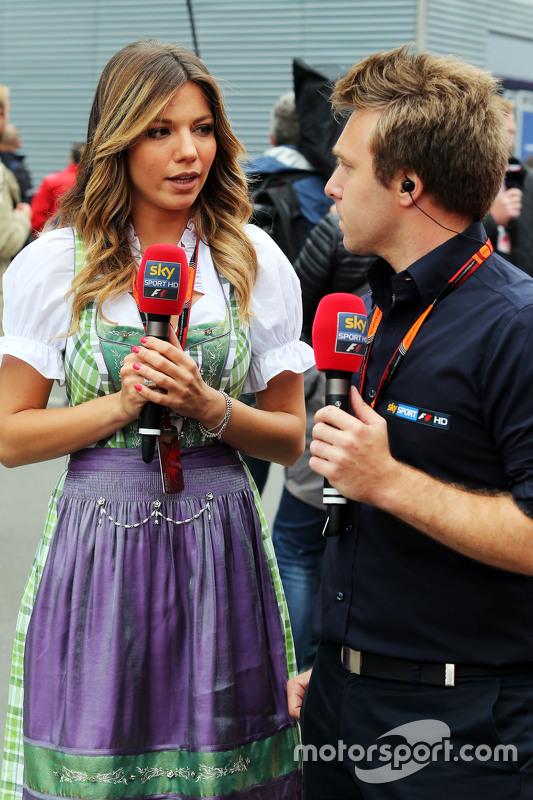 Federica Masolin, Sky F1 Italia Presenter with Davide Valsecchi, Sky F1 Italia Presenter