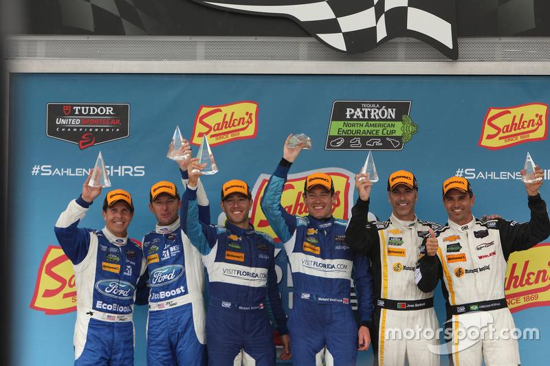 Prototype Podium: Race winners #90 VisitFlorida.com Racing Corvette DP: Richard Westbrook, Michael V