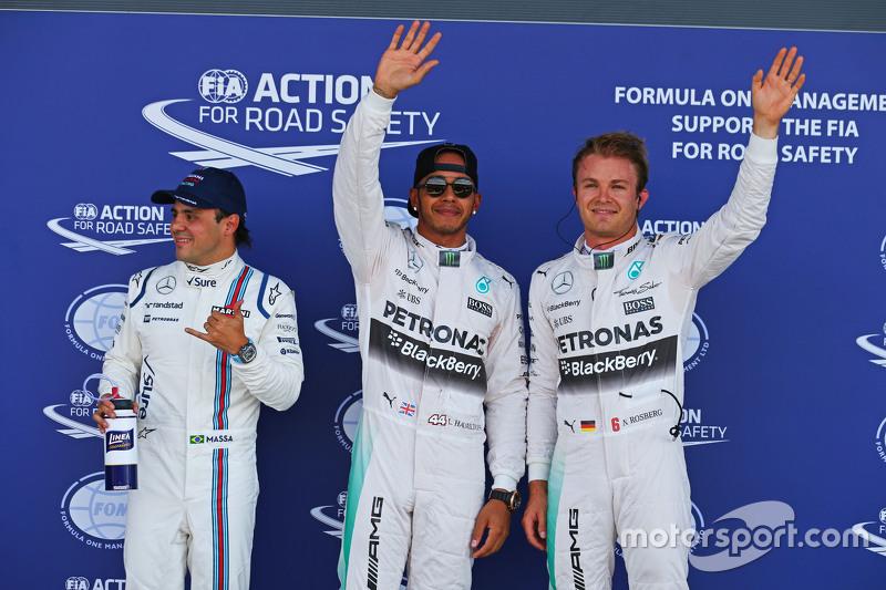 Qualifying, Parc Fermé: 3. Felipe Massa, Williams; Pole-Sitter: Lewis Hamilton, und 2. Nico Rosberg,