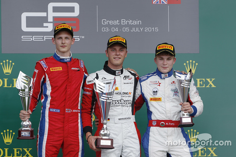 Podium: second place Emil Bernstorff, Arden International and winner Marvin Kirchhofer, ART Grand Prix and third place Matthew Parry, Koiranen GP