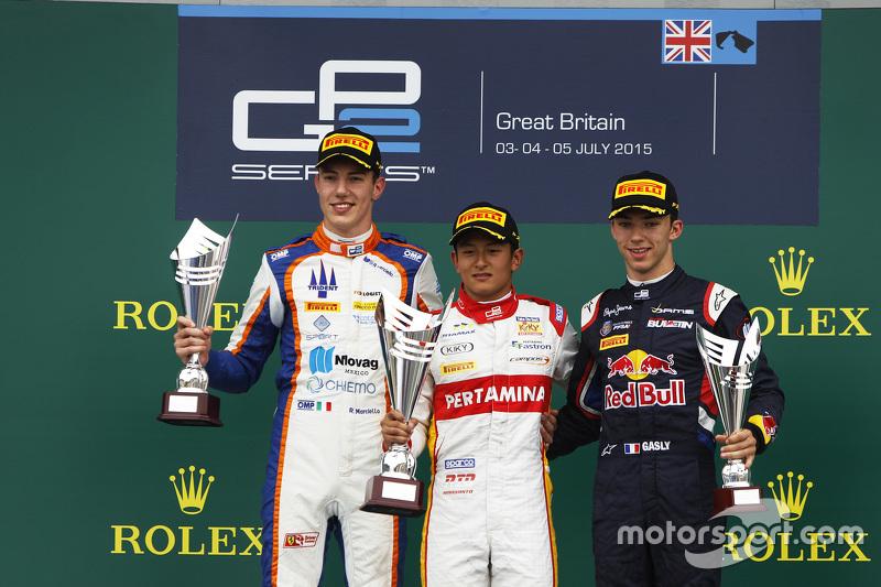 Podium: winner Rio Haryanto, Campos Racing, second place Raffaele Marciello, Trident, third place Pierre Gasly, DAMS