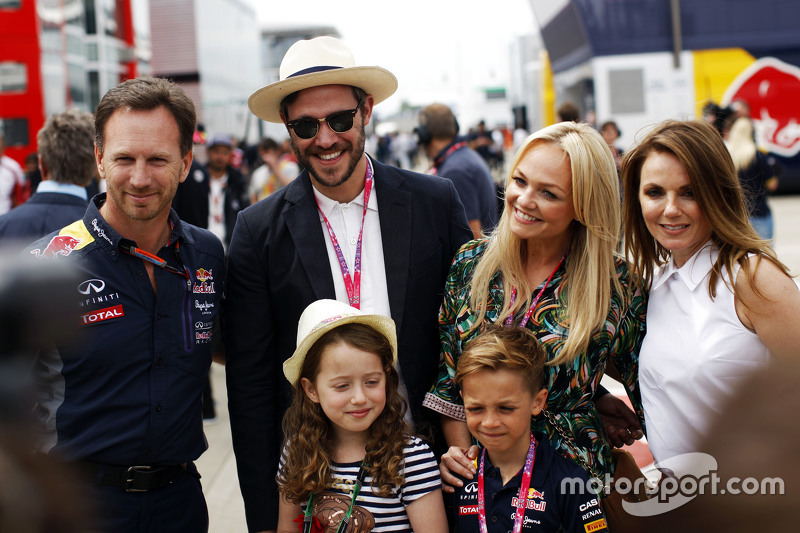 Christian Horner, Red Bull Racing Team Principal con Will Young, Emma Bunton e Geri Halliwell
