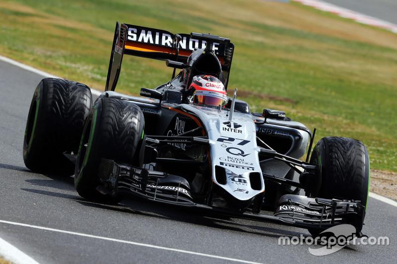 Nico Hulkenberg, Sahara Force India F1 VJM08 di end of the race