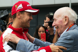 (L to R): Sebastian Vettel, Ferrari with John Surtees