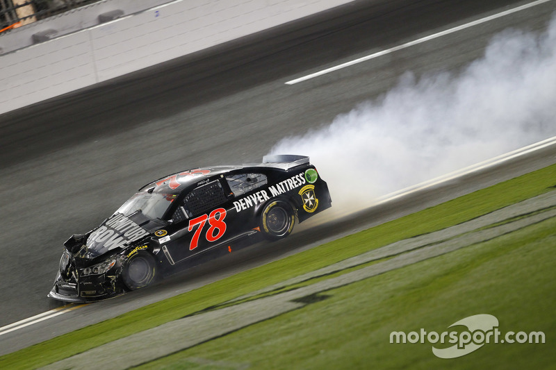 Martin Truex Jr., Furniture Row Racing Chevrolet crashes