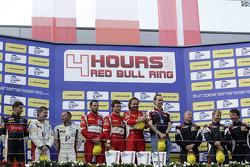 GTC podium: winners Thomas Flohr, Stuart Hall, Francesco Castellacci, second place Eric Dermont, Franck Perera, Dino Lunardi, third place