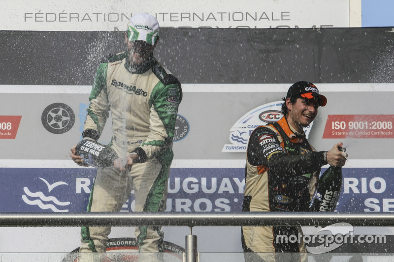 Podium Agustin Canapino, Jet Racing Chevrolet and Juan Marcos Angelini, UR Racing Dodge (left to right)