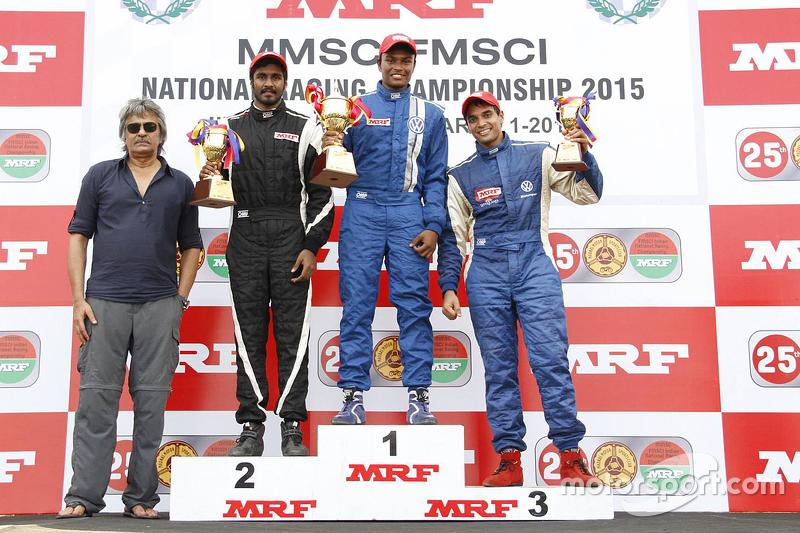 Race winner Karthik Tharani, second place Arjun Narendran, third place Siddarth Trivellore