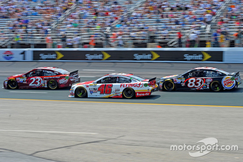 J.J. Yeley, BK Racing Toyota, Michael Annett, HScott Motorsports Chevrolet and Matt Dibenedetto, BK Racing Toyota