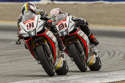 Leon Haslam, Aprilia Racing Team Red Devils; Jordi Torres, Aprilia Racing Team Red Devils