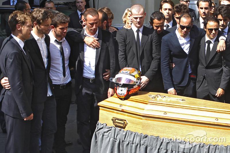 Sebastian Vettel, Romain Grosjean, Pastor Maldonado, Felipe Massa attend the funeral of Jules Bianch