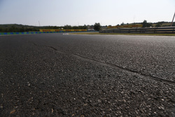 Repaired crack in the track surface