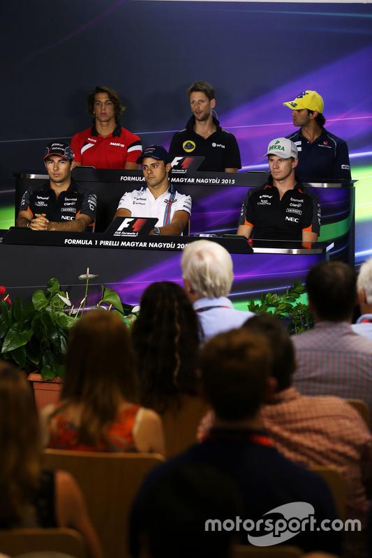 Roberto Merhi, Manor F1 Team; Romain Grosjean, Lotus F1 Team; Felipe Nasr, Sauber F1 Team; Sergio Pe