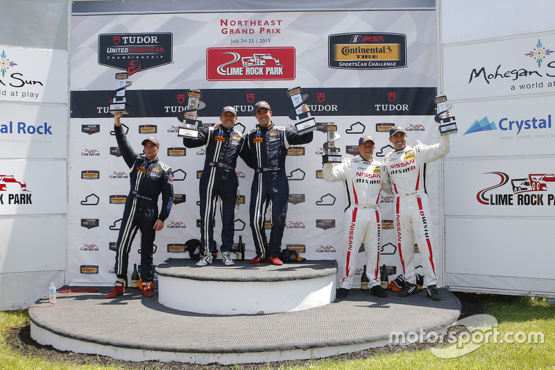 GS Podium: Race winners #15 Multimatic Motorsports Ford Mustang Boss 302R: Scott Maxwell, Billy Johnson, #158 Multimatic Motorsports Ford Mustang Boss 302R: Jade Buford, Austin Cindric and #14 Doran Racing Nissan 370Z: B.J. Zacharias, Brad Jaeger