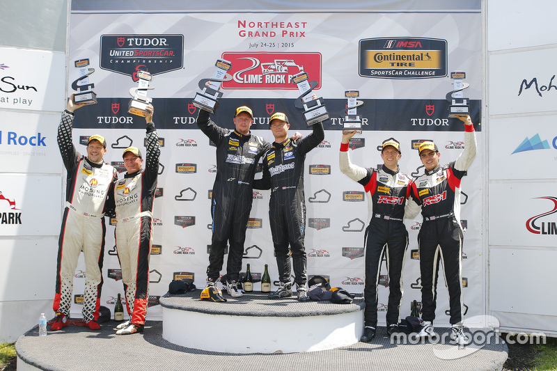 ST Podium: Race winners #5 CJ Wilson Racing Mazda MX-5: Stevan McAleer, Chad McCumbee, #56 Murillo R