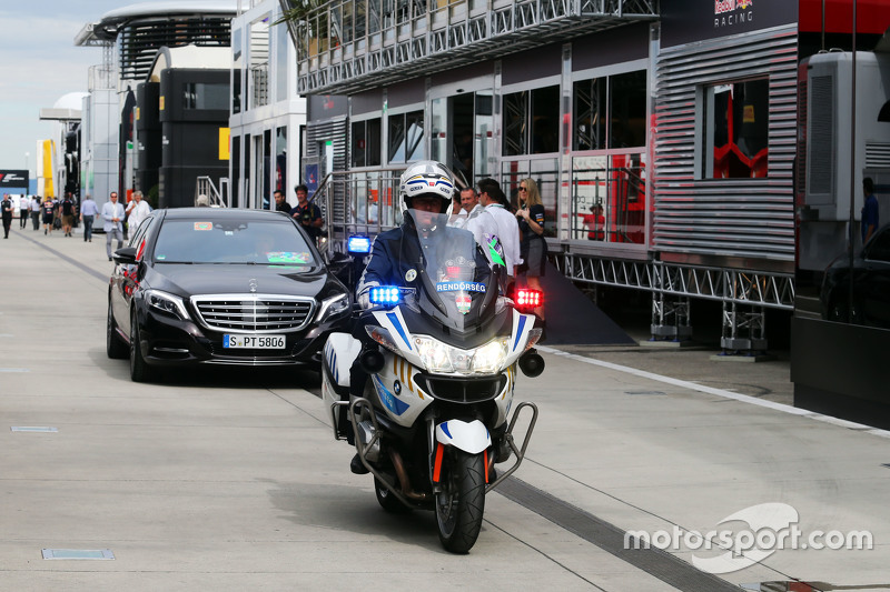 Bernie Ecclestone, arrives in the paddock