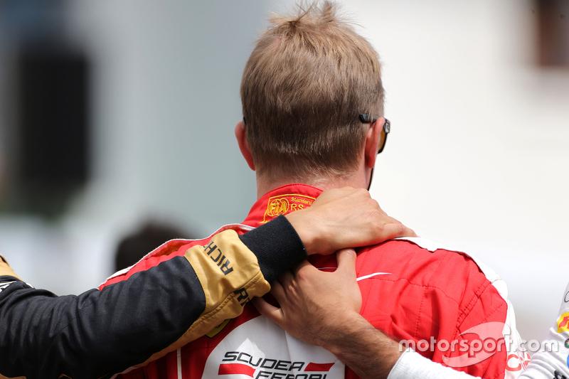 Drivers during the minute of silence for Jules Bianchi  Kimi Raikkonen, Scuderia Ferrari