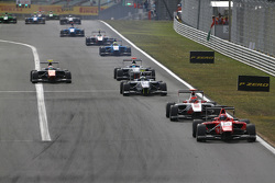 Emil Bernstorff, Arden International leads Esteban Ocon, ART Grand Prix & Jimmy Eriksson, Koiranen GP