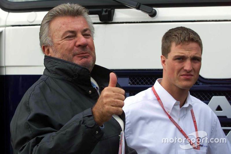 Willi Weber, manager van Michael en Ralf Schumacher met Ralf Schumacher, BMW Williams