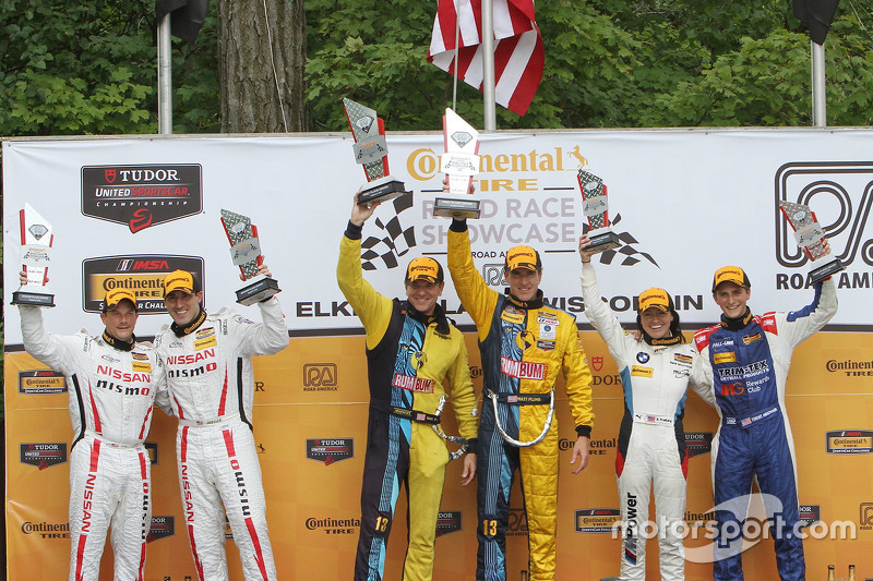 Podium: race winners Matt Plumb, Hugh Plumb, second place BJ Zacharias, Brad Jaeger, third place Trent Hindman, Ashley Freiberg