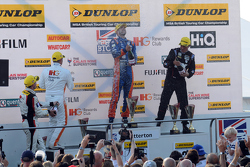 Podium: race winner Jack Goff, MG 888 Racing, second place Jason plato, Team BMR, third place Andy P