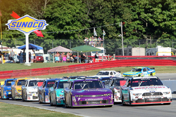 Restart: Alex Tagliani, Team Penske Ford and Regan Smith, JR Motorsports Chevrolet lead