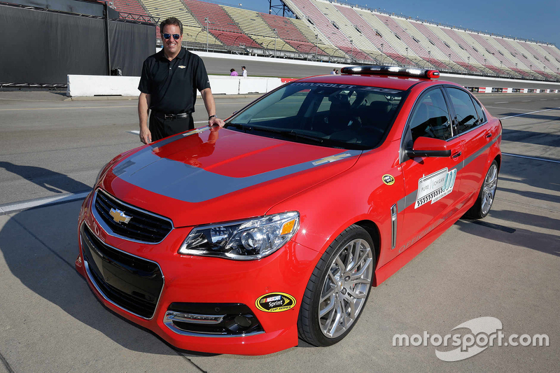 General Motors Executive Vice President of Product Development Mark Reuss with the Chevrolet SS pace