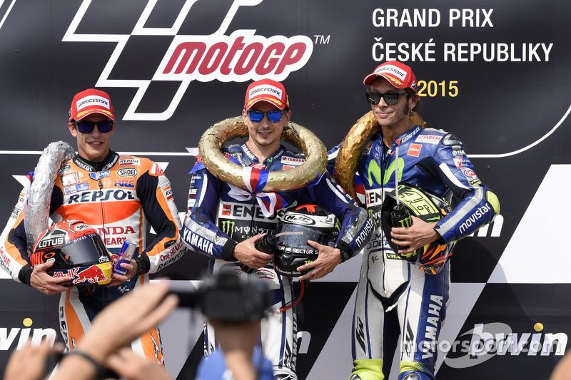 Podio: 1º Jorge Lorenzo, 2º Marc Márquez, 3º Valentino Rossi