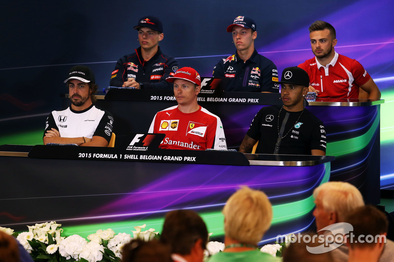 FIA Press Conference,): Max Verstappen, Scuderia Toro Rosso; Daniil Kvyat, Red Bull Racing; Will Stevens, Manor F1 Team; Fernando Alonso, McLaren; Kimi Raikkonen, Ferrari; Lewis Hamilton, Mercedes AMG F1