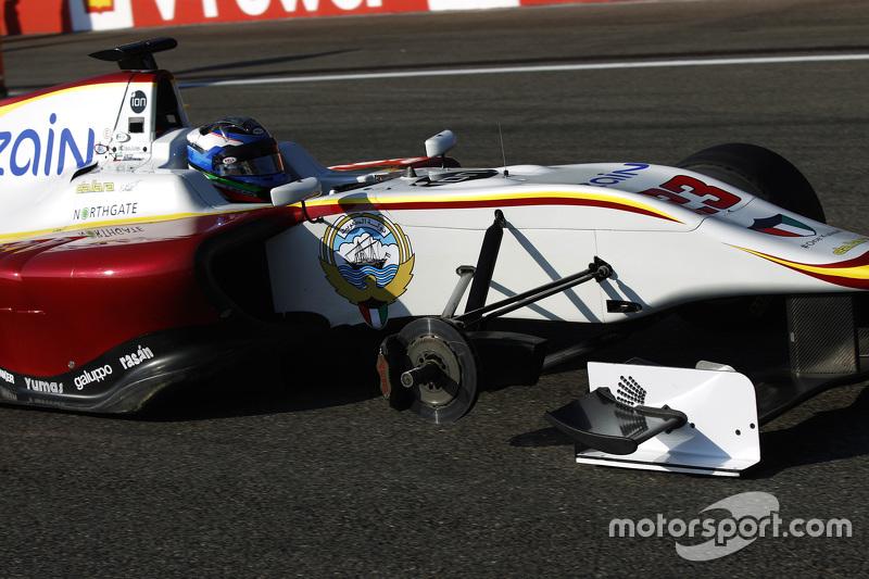 Zaid Ashkanani, Campos Racing and arrives di grid missing a wheel