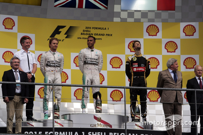 The podium,: Nico Rosberg, Mercedes AMG F1, second; Lewis Hamilton, Mercedes AMG F1, race winner; Romain Grosjean, Lotus F1 Team, third