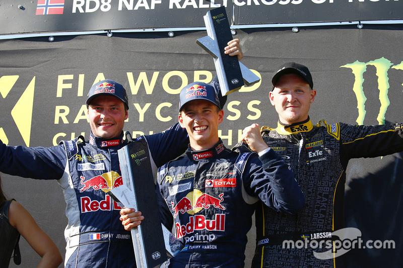 Podium: winner Timmy Hansen, Team Peugeot Hansen, second place Davy Jeanney, Team Peugeot Hansen, third place Robin Larsson, Larsson Jernberg Racing Team Audi A1