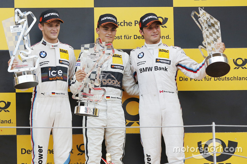 Podium: race winner Pascal Wehrlein, HWA AG Mercedes-AMG C63 DTM, second place Marco Wittmann, BMW Team RMG BMW M4 DTM, third place Bruno Spengler, BMW Team MTEK BMW M4 DTM