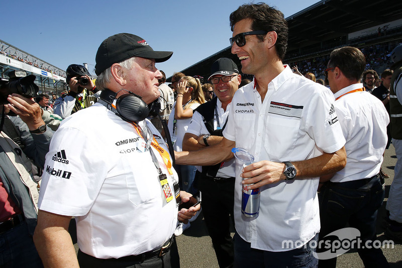 Dr. Wolfgang Porsche mit Mark Webber, Porsche Team