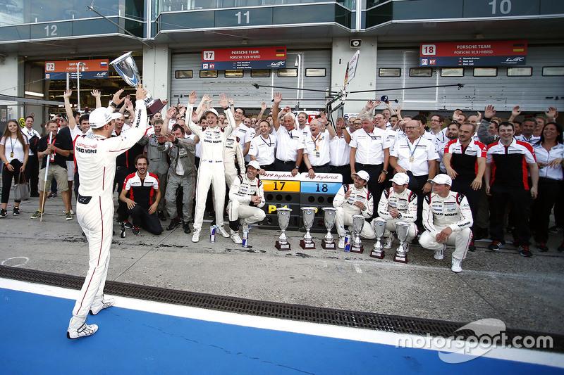 Porsche Team celebrates a 1-2 finish