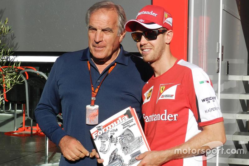 Giorgio Piola, Analyste Technique de Motorsport.com Formule 1 avec Sebastian Vettel, Ferrari