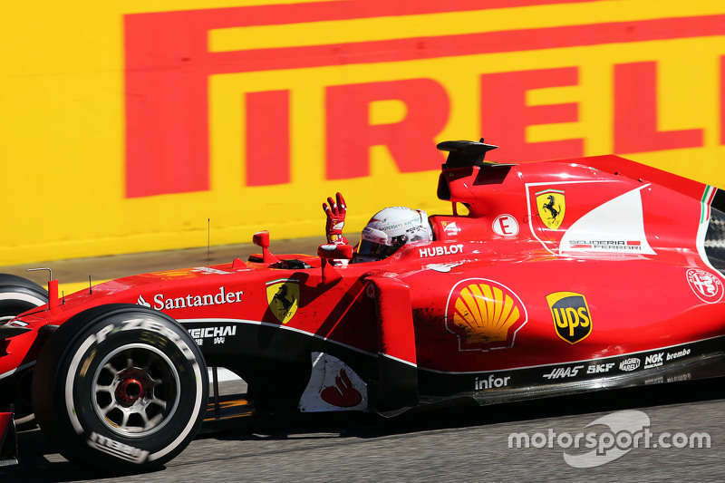 Second placed Sebastian Vettel, Ferrari SF15-T celebrates at the end of the race