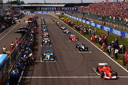 The starting grid: drivers get ready for the pace lap