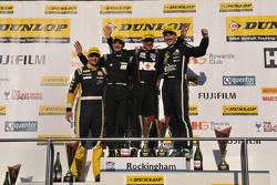 Race 3, Round 24 Podium 1st Jason Plato, 2nd Tom Ingram, 3rd Colin Turkington, dan JST Winner Josh Cook