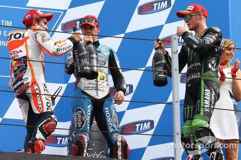 Podium: Winner Marc Marquez, Repsol Honda Team and third place Scott Redding, Marc VDS Racing Honda and second place Bradley Smith, Tech 3 Yamaha