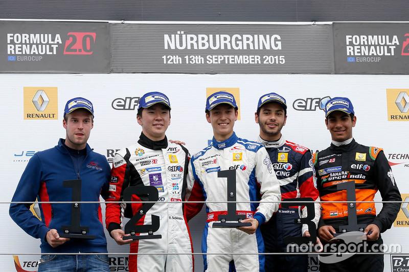 Race 1 winner Jack Aitken, Koiranen GP, second place Ukyo Sasahara, ART Junior Team, third place Matevos Isaakyan, JD Motorsport, best rookie Jehan Daruvala, Fortec Motorsports