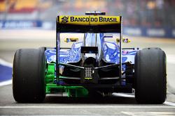 Felipe Nasr, Sauber C34, mit Flow-Viz-Farbe am Diffusor