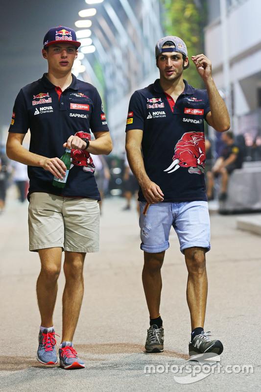 Max Verstappen, Scuderia Toro Rosso with Carlos Sainz Jr, Scuderia Toro Rosso