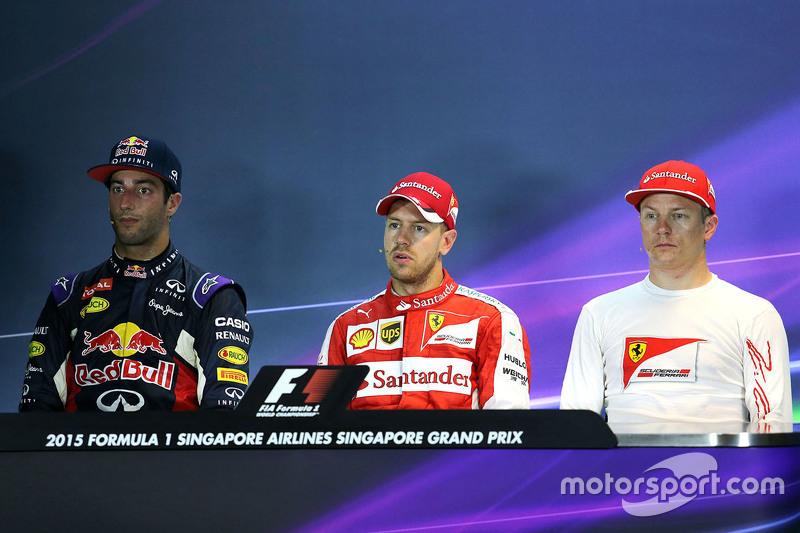 Press conference: Polesitter Sebastian Vettel, Ferrari, second place Daniel Ricciardo, Red Bull Raci